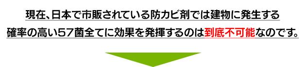 現在、日本で市販されている防カビ剤では建物に発生する確率の高い57菌全てに効果を発揮するのは到底不可能なのです。